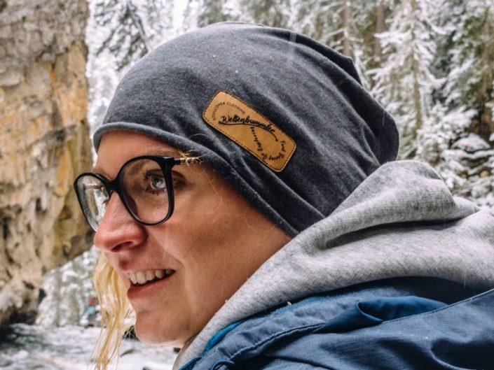 Weltenbummler Mütz - Beanie aus Bio Baumwolle veganem Leder - limitiert nachhaltig einzigartig - du planzt 1 Baum - made in germany