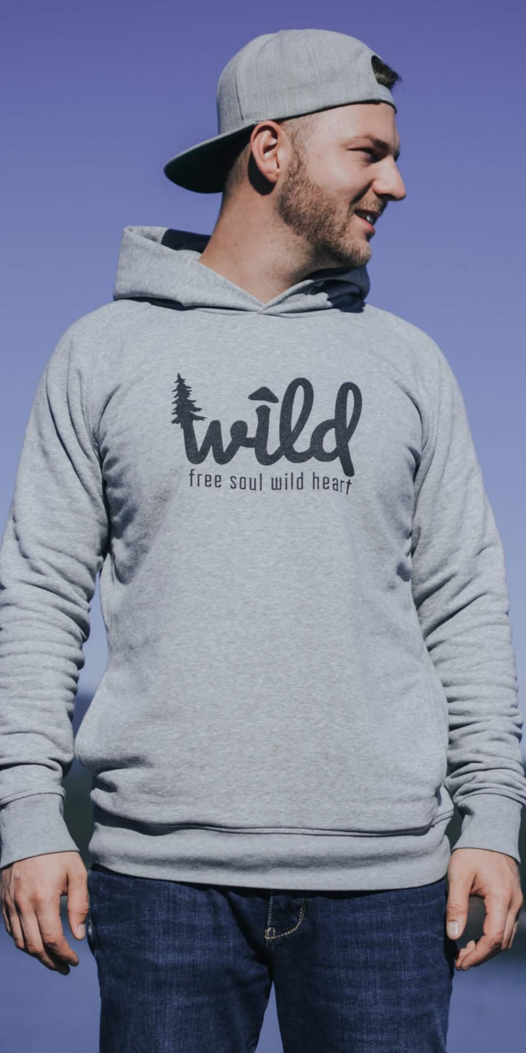 Wild Hoodie, Wild Pullover, Hoodie mit Wild Design, Wild, Free Soul Wild Heart, Hoodie, Pullover, grauer Hoodie, grauer Pullover, Graphic Design Hoodie,