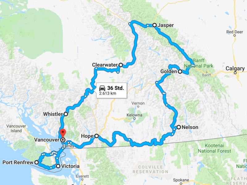 Mit dem Mietwagen durch Kanadas Westen - Route, Mietwagen Kanada, Mietwagen Kanada Roadtrip Route, Route, Roadtrip, Mietwagen, Kanada,