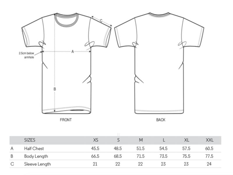 Größentabelle Fernweh Shirt Unisex